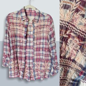 JOHNNY WAS 3J Plaid Embroidered Button Up